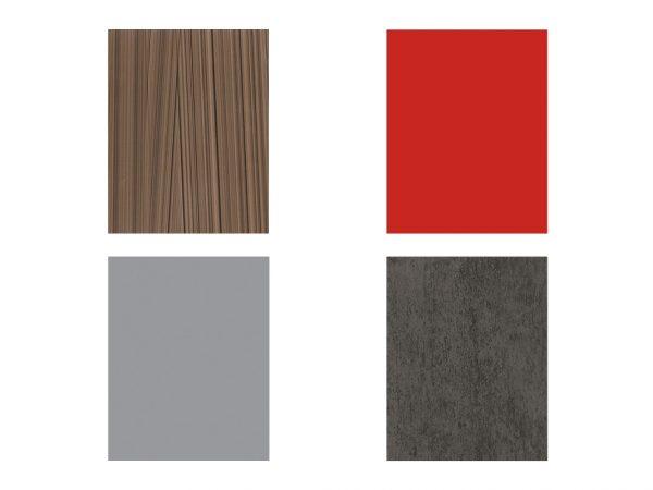 KOmplett fargekombinasjon av rød seksjon og brun seksjon