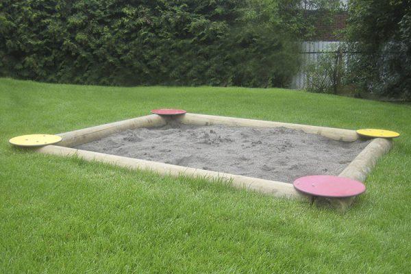 Sandkasse i rundstokk 3 x 3 meter