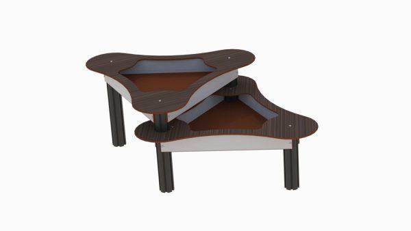 Dobbel sandlekebord i trestruktur/grå