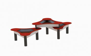 sandlekebord trippel i fargen rød og grå