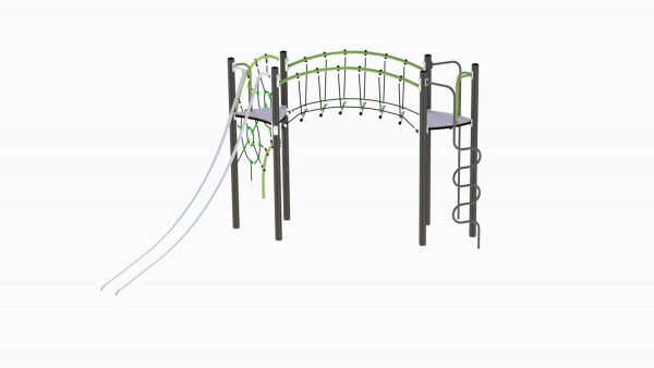 Adventure Glekse klatreapparat med grå stolper og grønne rør.