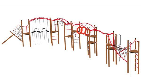 KLatreløype med brune stolper og røde rød