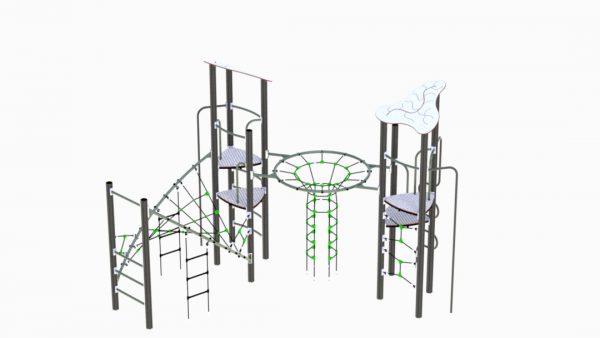 Klatrestativ til lekeplassen med utallige nivåer og utfordringer